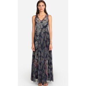 JOHHNY WAS YAWS MESH MAXI DRESS L